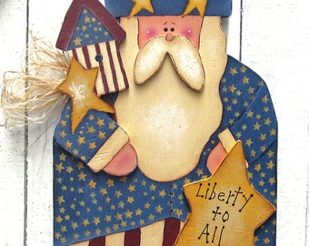 Patriotic Decor 4th of July Uncle Sam 2 ft. Uncle Sam Yard Sign Red White Blue Decor Americana Decor Primitive Decor Wood Outdoor Lawn Decor