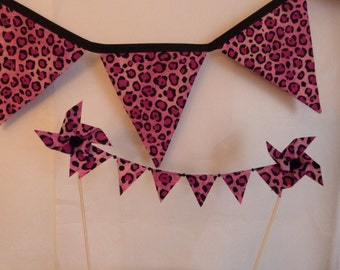 Fun and Wild - Two Piece Set - Pink Black Leopard Print 5 Bunting Flags - Plus Cake Topper - READY TO GO