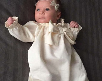 Pure white or antique ivory baby baptism DRESS cotton, BASIC BOW with long sleeves custom newborn to 6 girls
