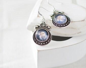 Full Moon in the Clouds Earrings. Silver Moon Earrings. Cloud Earrings. Full Moon Earrings. Night Sky Earrings. Celestial Earrings.