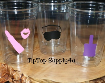 24 spa party 10,12 or 16 oz. clear disposable cup. Birthday,B-day party decor,Spa birthday,girls night,manicure,sleep mask,nail polish. C305