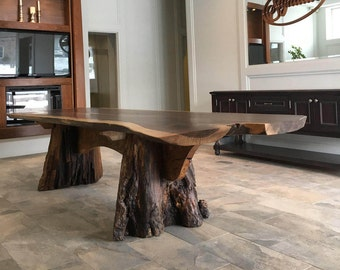 Live Edge, Black Walnut & Elm Wood, Harvest Table
