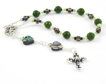 Christian Prayer Beads / Pocket Rosary - Anglican, Protestant, Episcopalian - Greenstone & Paua Shell