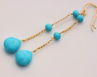 AAA Arizona Turquoise Earrings, 14k Gold Filled, Long Dangly Elegant, December Birthstone - Isabelle