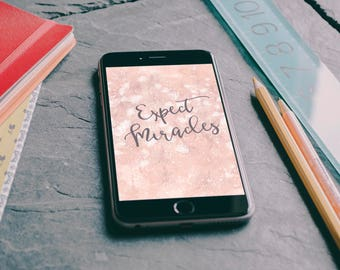 "iPhone 6+/iPhone 7+/iPhone 8+/LG G4/Samsung Galaxy J7/Google Pixel XL ""Expect Miracles"" Personalized Background/Wallpaper"