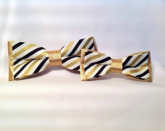 Duet bow tie, white, black and gold stripes