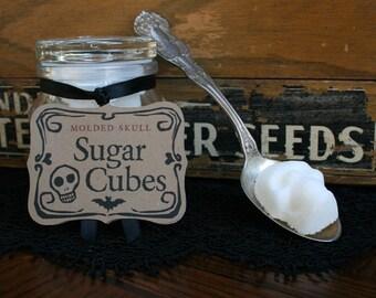 Sugar Cube Skulls PERFECT SKULL GIFT // 2 Mini Apothecary Jars //  Eight Skulls // Nightmare Before Christmas // Skull Gift // Dembones