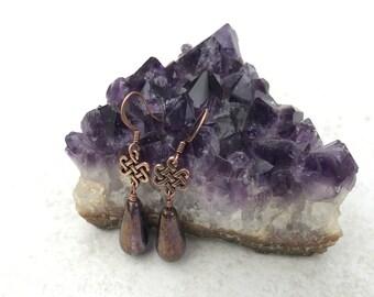 Celtic Teardrop Copper Earrings - Celtic Earrings - Beaded Earrings - Antique Copper Celtic Jewelry - Drop Earrings - Celtic Knot Earrings