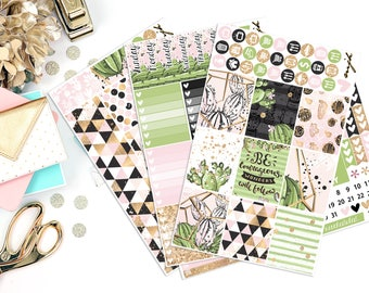 Cactus Rose Sticker Kit | Fits Erin Condren - Vertical | Planner Stickers