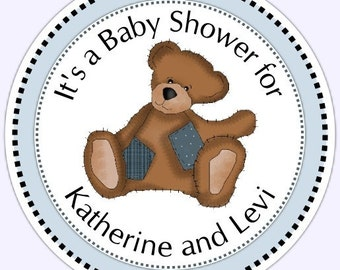 Teddy Bear Baby Shower Stickers - baby shower sample - Personalized for YOU