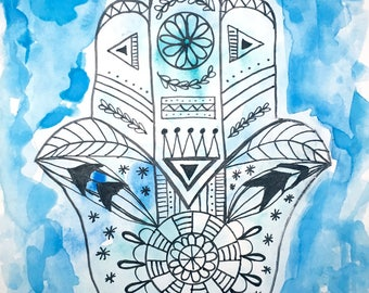 Hamsa Hand 2 - Watercolor and Ink on Paper