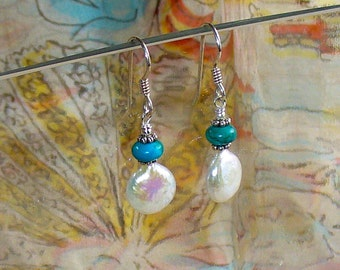 Coin Pearl Earrings and Turquoise