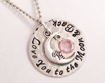 Hand stamped Love you to the moon and & back pendant hammered polished Swarovski crystals