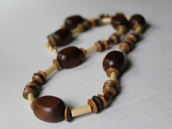 Chunky Wood Necklace, Big Brown Bead Necklace, Boho Necklace, Chunky Beads, Statement Necklace