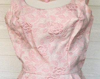 1960s Dress Mad Men Wiggle Pink Brocade Metallic 1960s