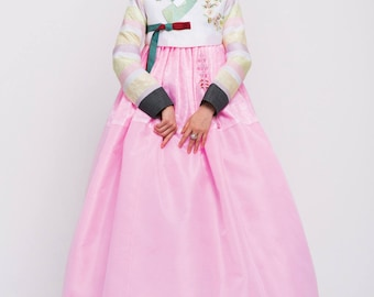 Hanbok. Luxury Korean Traditional Costume - See Through layer Skirt. Custom made KSS-032.