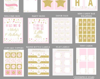 Twinkle Twinkle Little Star Birthday Party Printables, Invitation Included, Personalized for you, PDF Files