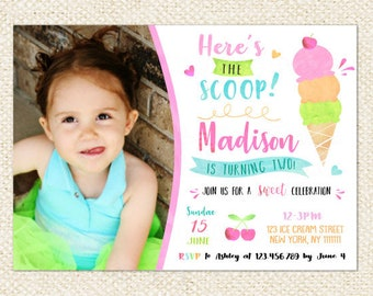 Ice Cream Invitation / Ice Cream Birthday Invitation /  Ice Cream party invitation , Ice Cream Social, Ice Cream Birthday for girl