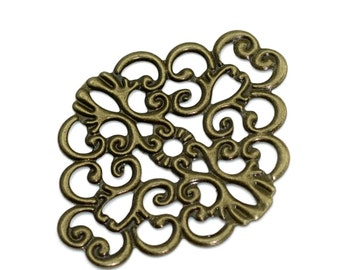 Filigree : 10 Antique Bronze Filigree Metal Jewelry Stampings | Brass Filigree Connectors | Links -- Lead, Nickel & Cadmium Free F14855