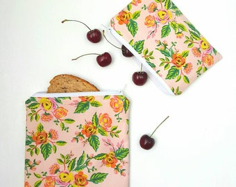 Reusable snack bag, reusable sandwich bag, snack bag, kids lunch sack, sandwich bag, zippered pouch, food baggies, Rifle Paper Co., floral