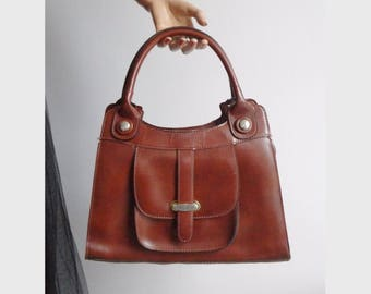 Brown 70s  Vintage Vegan Top Handle Bag With Gold
