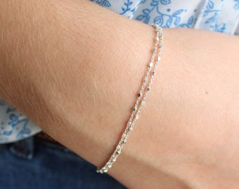 Delicate Sterling Silver Cube Beads Bracelet, Double Layer, Dainty Bracelet, Minimalist, Stackable Bracelet
