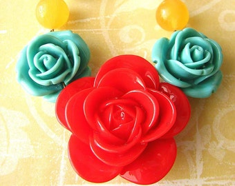 Red Necklace Statement Necklace Beaded Necklace Resin Flower Necklace Rose Jewelry Gift For Her
