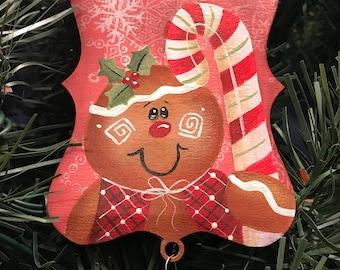 Gingerbread Joy Ornament, Joy, Ornament, Candy Cane, Rusty Bell, Gingerbread, Teacher Gift, Holiday Decor, Laurie Speltz
