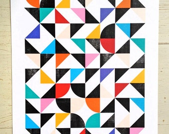 Geometric print / abstract art print we call 'Organised Confusion' - Large size. Colorful and abstract wall art, geometric home decor print