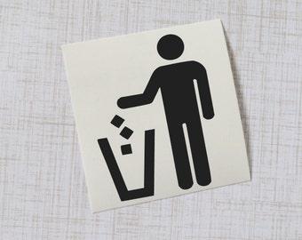 Trash Can Vinyl Decal, Garbage Symbol Sticker
