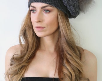 Knit Beret, Slouchy Beanie, Slouch Hat, Pom Pom - Can be worn as a Beret or Slouchy Beanie