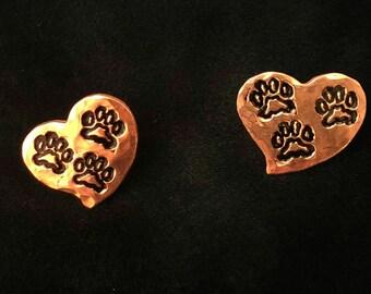 Tripawd 3-Paw Metal Stamped Post Earrings in Copper