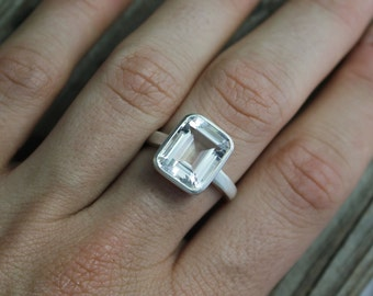Emerald Cut White Topaz Ring, Sterling Silver Bezel Set Ring, Bling Ring, Glam Cocktail Ring, Ready to Ship Size 7.25