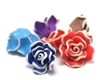 "4 ""flower beads Polynesian"" n ° 1, 23 x 16 mm, assorted colors"