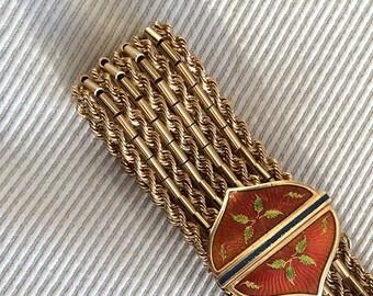 Vintage gold bracelet. Gold cuff bracelet with enamel detail clasp. 18k and 14k solid gold, weighs 62 grams. Vintage gift.