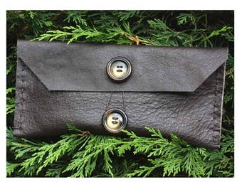 handmade leather clutch bag, brown leather clutch bag, mini evening handbag, handmade leather bag, leather pouch, beauty bag, cosmetic bag