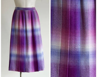 Purple plaid pleated wool skirt