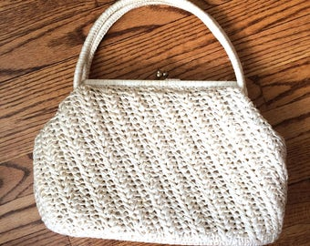 Vintage Forsum White Handmade Cellophane Straw Handbag Made In Japan