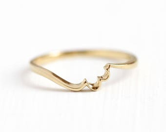 Gold Stacking Band - Estate 14k Yellow Gold Wave Curved Ring - Vintage Size 5 1/2 Dainty Minimalist Artistic Lightweight Fine Jewelry