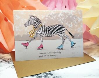 Florence the Zebra A6 Christmas Card // Saharan Christmas