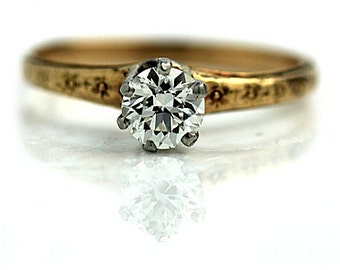 Yellow Gold Diamond Ring Antique Solitaire Engagement Ring .65ctw 14K Yellow Gold 1920s Diamond Ring Filigree