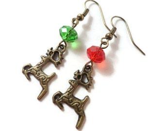 Reindeer Earrings, Bronze Reindeer Charm Earrings, Red and Green Earrings, Holiday Jewelry, Deer Earrings, Crystal Bead Earrings, Gift Idea