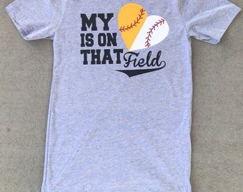 BASEBALL Mom - My heart is on that field -  Heat Press nonpocket Tee - Short Sleeve - Sports Fan - Baseball Mom - Softball Mom