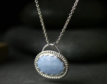 Rose cut African opal and sterling silver pendant necklace