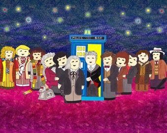 Doctor Who Greetings Card: 12 Doctors Illustration