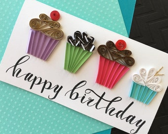 Happy Birthday Card, Cupcake, Quilling, Greeting Card, Friends Birthday, Paper Quilling, Birthday Card, Cupcake card