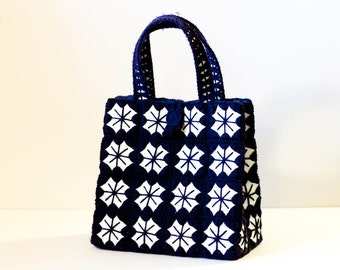 Vintage navy blue and white stiched yarn handbag square purse starburst sunburst