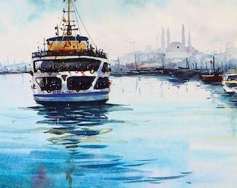 Istanbul sea landscape watercolor painting art print.