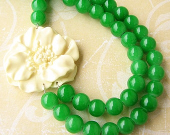Statement Necklace Green Jewelry Green Necklace Flower Necklace Beaded Necklace Double Strand