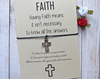 Cross Bracelet. Cross wish bracelet. Christian Religious Jewelry. Gift for first communion. Catholic gift. Religious bracelet Faith bracelet